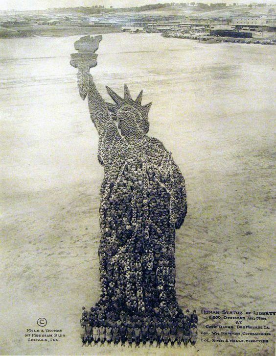 """Human Statue of Liberty"", Mole & Thomas - c. 1918: 000 Officers, Lady Liberty, 18 000, Monks, Camp Dodge"