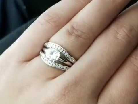 10k White Gold Round Diamond Channel Enhancer Wrap Ring Guard