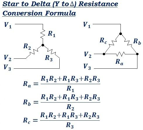 Formula To Convert Star To Delta Y To  Equivalent Resistance