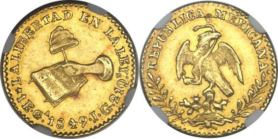 Republic gold 1 Escudo 1849