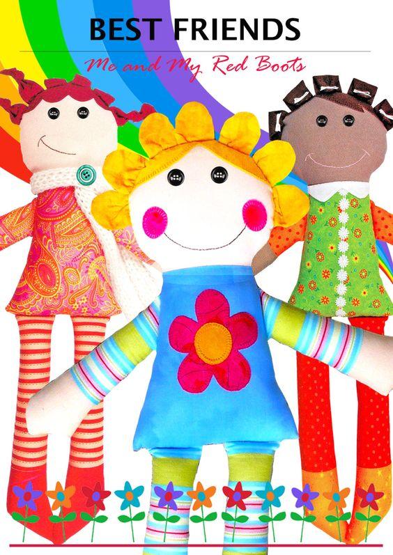 Meilleurs amis Dolls patron poupée PDF par TheRedBootQuiltCo