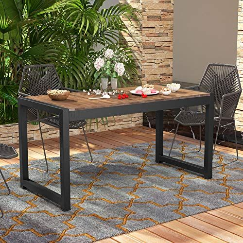 Tribesigns Solid Wood Dining Table Outdoor Patio Dining Https