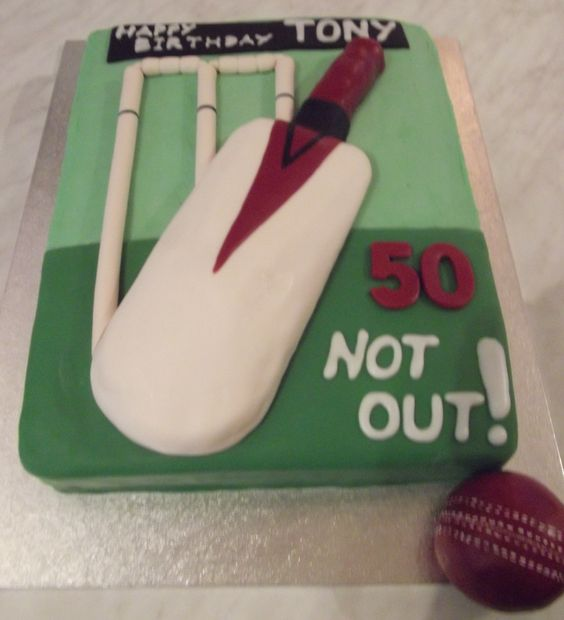 Cricket Bat Cake Images : cricket 50th birthday cake 3d bat & ball Sports cake ...