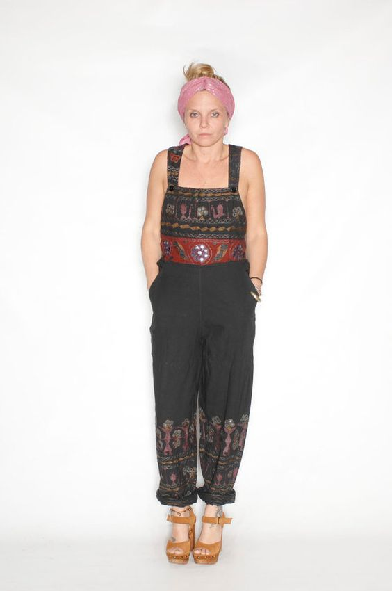 Vintage Ethnic Embroidered Overalls by redpoppyvintageshop on Etsy, $58.00