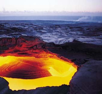 A volcanoe's caldera
