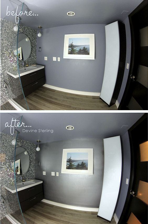 Metallic paint bathroom accent wall and bathroom accents - Metallic silver paint for interior walls ...