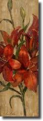 Vivid Red Lily on Gold Art Print