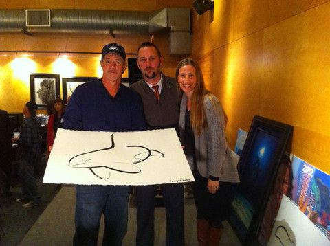 Wyland himself did an amazing brush struck orca for us on the spot at a fundraising event in 2012. Here we are with him and our beautiful orca, which now hangs framed in our home. Bucket list moment for Water Gallery! #mywatergallery #reusablewaterbottles #glasswaterbottles