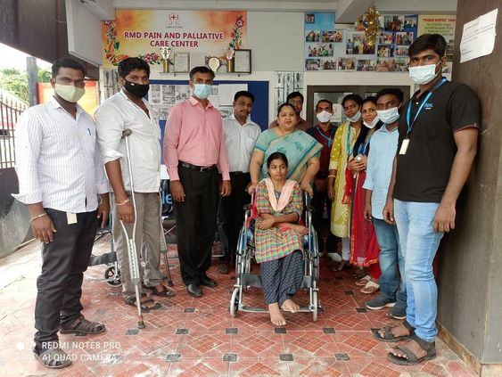 Flextronics gave 4 wheel chairs and a Trolley for the deserving inmates in RMD Palliative Care