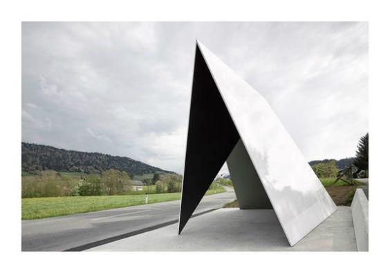 Bus stop by Belgian architect trio DVVT (Jan De Vylder, Inge Vinck und Jo Taillieu) in Krumbach, Austria.