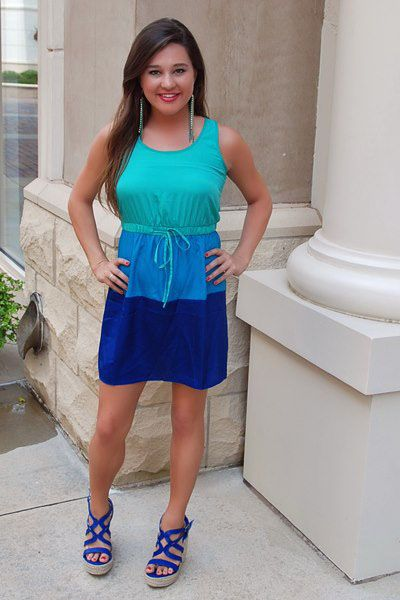 All for You Blue Colorblock Dress