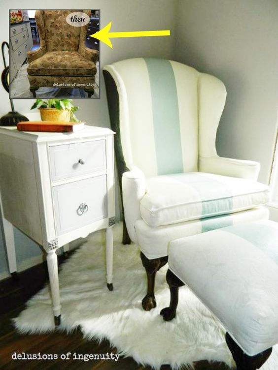 Painted Fabric On Upholstered Armchair