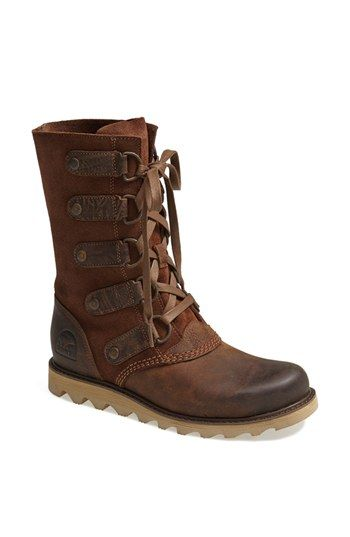 Brown leather boots lace up