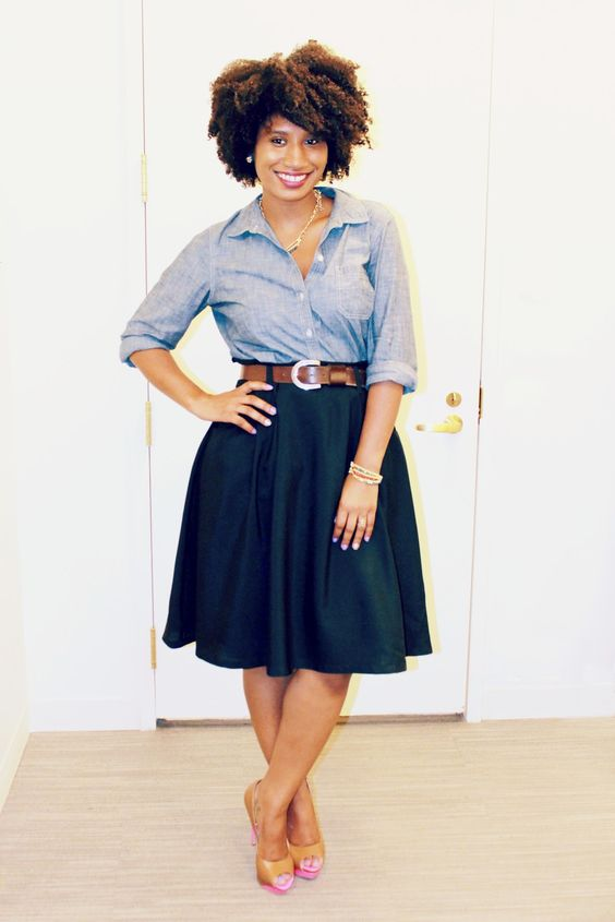 Old Navy Chambray Shirt with a full skirt. Loving this ensemble. Must recreate. Adorable look with thick hair.: