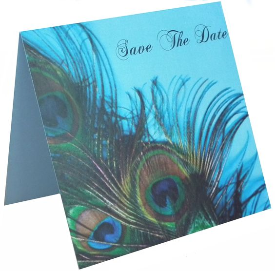 Blue Peacock Save The Date Card on Damask Blue card www.lilguy.co.uk