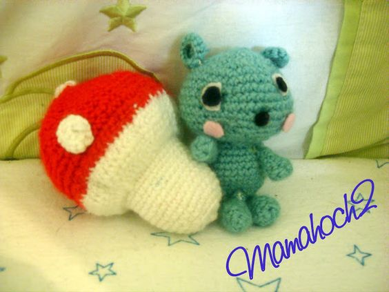 Mamahoch2: Häkelbär und Pilz, crochet bear and mushroom