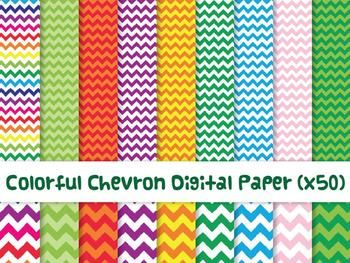Colorful Chevron Digital Paper x50  commercial use $