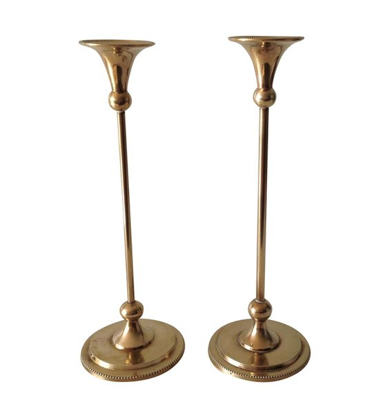 Brass Foundry Candle Holders - a Pair on Chairish.com