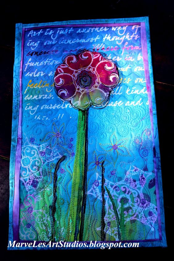 artsy Summer Flower Mini Quilt Wall Hanging with stenciled words, and thermofax screen prints