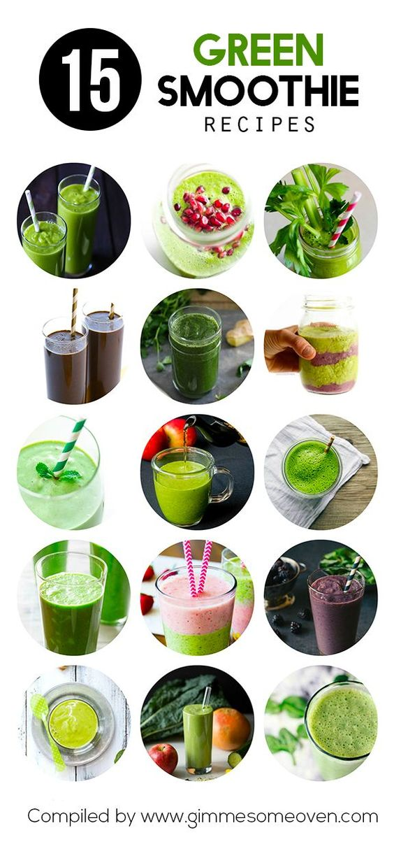 A collection of 15 delicious green smoothie recipes from food bloggers, compiled at Gimme Some Oven.