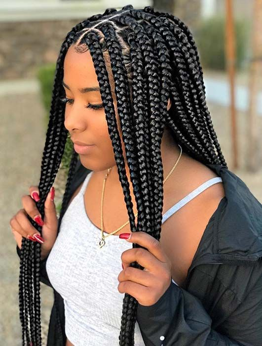 Pretty, Medium Crochet Box Braids | Box braids hairstyles for black women, Braids for black women, Braided hairstyles for black women