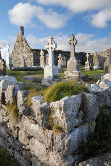 Church ruins and cemetery in Doolin, County Clare, Ireland: County Clare, Celtic Crosses, Church Cemetery, Ireland Scotland, Crosses Mark, Church Ruins, Doolin County, Clare Ireland