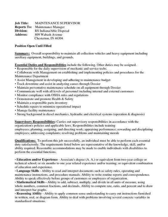 resumes maintenance supervisor - Google Search tom Pinterest - maintenance supervisor resume
