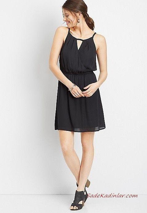 Yazlik Elbise Modelleri Siyah Sifon Kisa Askili Belden Buzgulu Topuklu Ayakkabi Elbise Modelleri Elbise The Dress