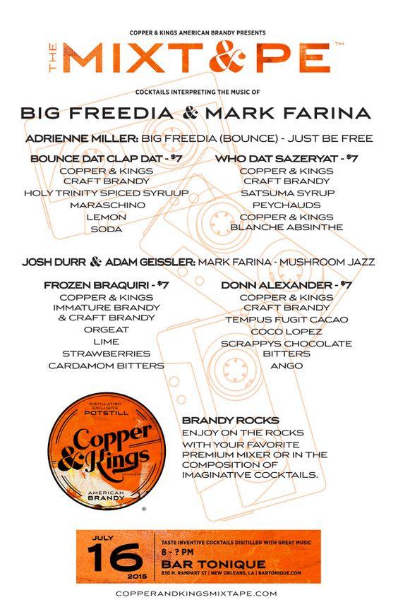 Copper & Kings MIXT&PE Menu at Bar Tonique, New Orleans on July 16, 2015. Cocktails interpreting the music of Big Freedia & Mark Farina #brandy #brandyrocks #mixtape #copperandkings #americanbrandy #craftbrandy #bartonique #neworleans #nola #louisiana #bigfreedia #markfarina #cocktail #cocktails #brandycocktail #drink #music #justbefree #bouncedatclapdat #whodatsazeryat #mushroomjazz #frozenbraquiri #donnalexander