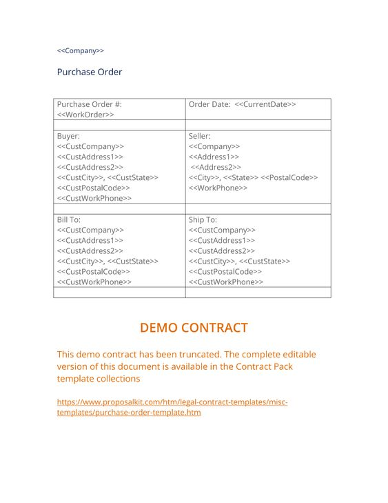 Purchase Order Template - The Purchase Order template is used to