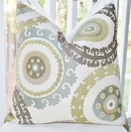 Blue Brown Green Throw Pillows : Decorative Pillow Cover - Suzani Blue Brown Green Creme Embroidered Pillow Cover- Throw Pillow ...