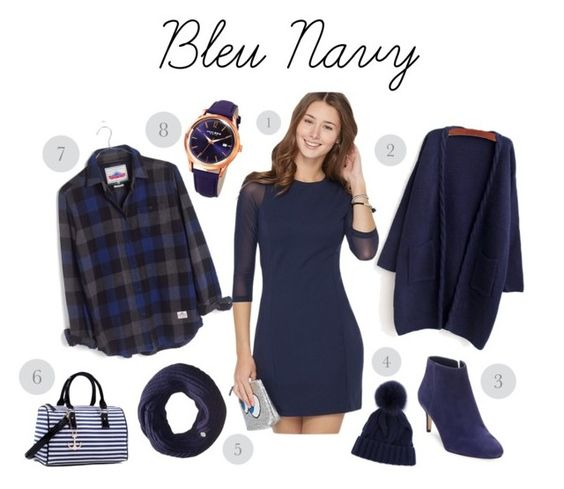 bleu navy mode by melanie-godin on Polyvore featuring mode, Madewell, WithChic, Via Spiga, Dasein, Akribos XXIV, Celtek and Loro Piana: