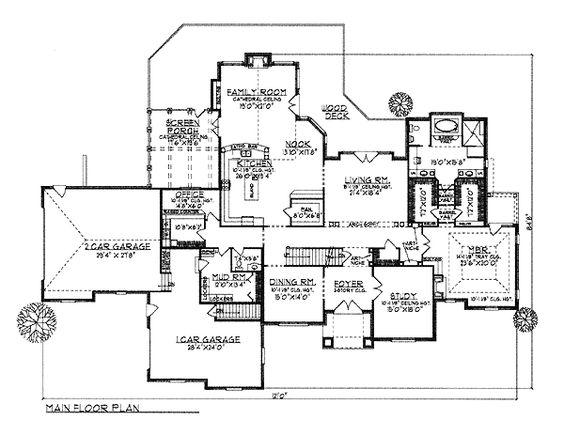First Floor Plan of Tudor   House Plan 97358