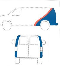 The mark consists of the colors blue and orange applied to a vehicle. The color blue is applied diagonally over the back sides of the vehicle and wraps around to the edges of the back of the vehicle. The color orange is applied in a curved diagonal stripe on top of the blue and appears only on the sides of the vehicle.