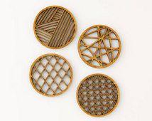 Geometrische Coasters bamboe Laser-gesneden (Set van 4)