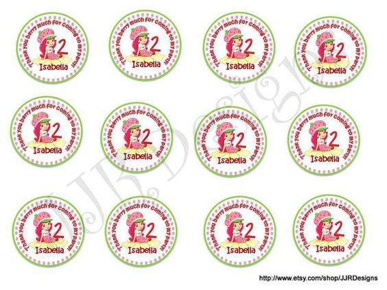 Thank You For Coming- Strawberry Shortcake Labels