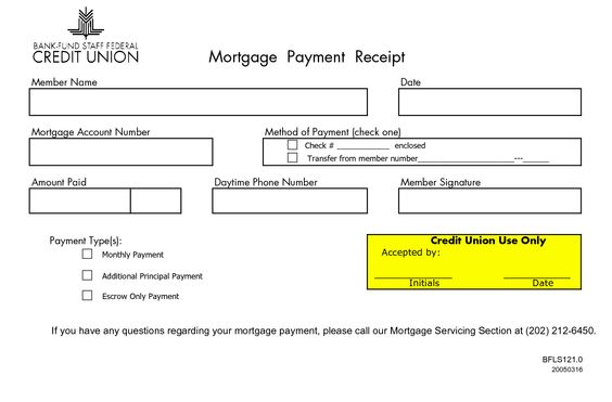 MONTHLY MORTGAGE RECEIPTS Mortgage Payment Receipt Member Name - cheque received receipt format