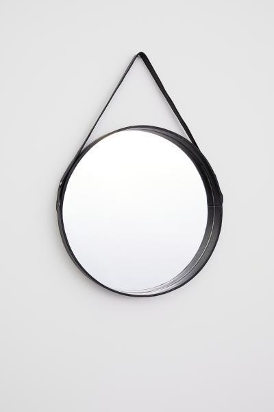 Round Leather Strap Mirror Ronde Spiegels Spiegel Zwarte Spiegel