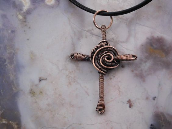 Copper Celtic Cross Necklace wire wrapped copper by FreeStyles