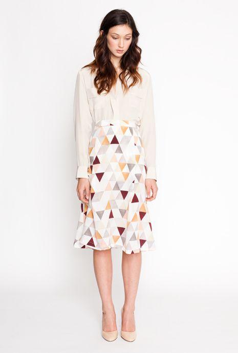 secret squirrel 2012 winter collection / brushstroke shirt in almond / dusk skirt in light triangle / blouse / knee-length skirt / flowy / feminine professional / nude pumps