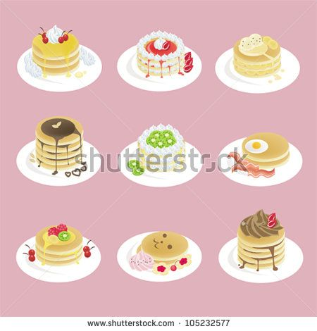 Fancy pancakes dessert with 9 different look and strawberry caramel syrup topping icon set, design by vector
