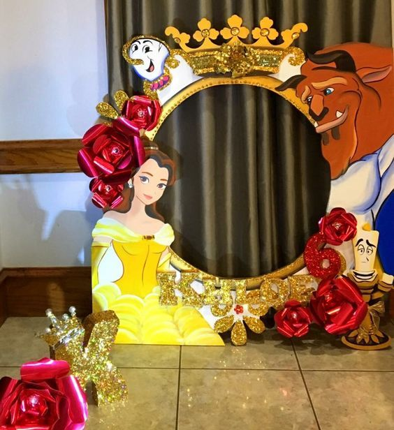 Princess Belle Party Beauty and the Beast Favors Beauty and the Beast Party Photo Booth Props 12 mini Beauty and the Beast Decoration