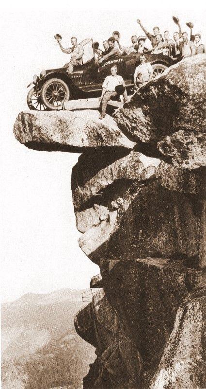 Vintage Photographs of Tourists on the Overhanging Rock, Yosemite National Park - Yosemite Mono Lake Paiute Indians or Native Americans - Zimbio