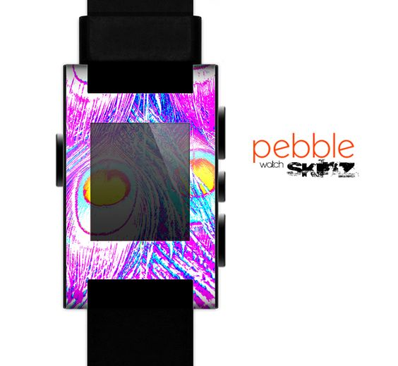 The Neon Pink & Turquoise Peacock Feather Skin for the Pebble SmartWatch