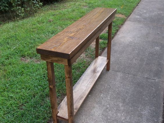 Rustic console table extra narrow sofa table entryway for Narrow console table with shelves
