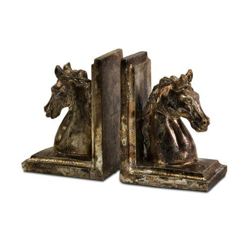 Set of Weathered Antique-Gold Decorative Horse Head Bookends CC Home Furnishings http://www.amazon.com/dp/B007XHWC4A/ref=cm_sw_r_pi_dp_oJeWtb1PR8PCMW41