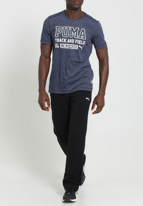 Puma STYLE ATHLETIC - T-Shirt print - peacoat heather - Zalando.de