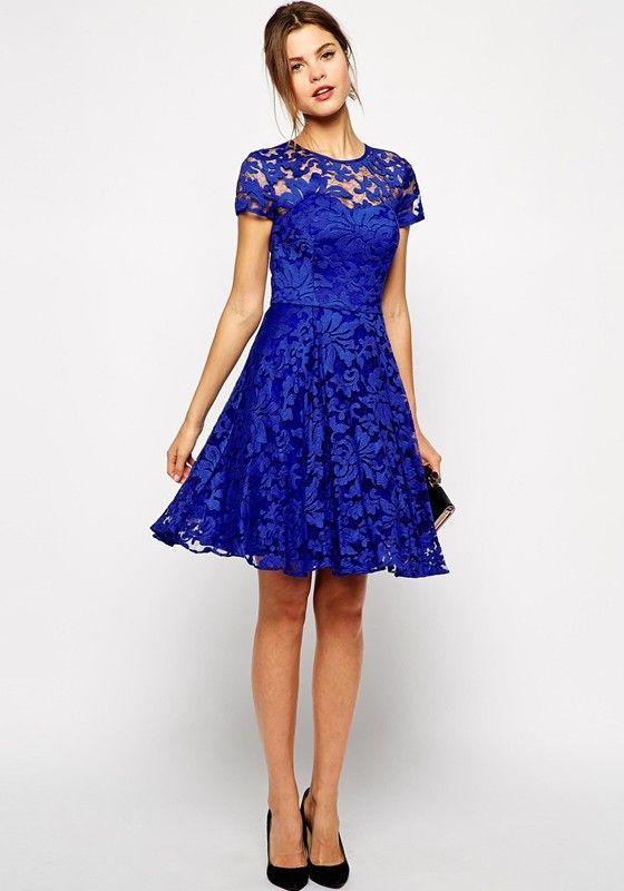 short sleeve blue lace dress   Gommap Blog