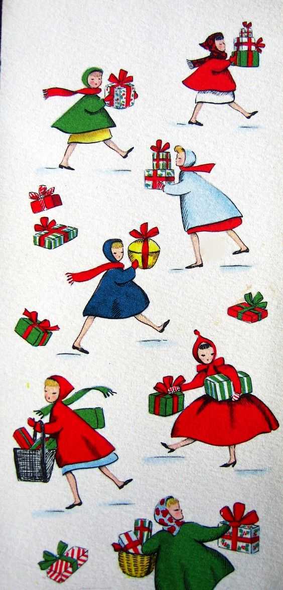 Vintage Christmas card with girls or women carrying wrapped packages.: