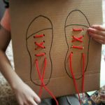 DIY Shoe-Tying Board . Kids Crafts . Fun & Games   PBS Parents, NEED this for our kiddos, tying their shoe laces after they have been dragged through pee in the bathroom is not enjoyable!